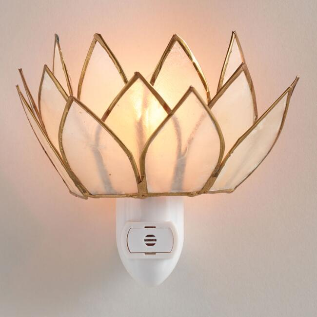 Capiz Lotus Flower Night Light