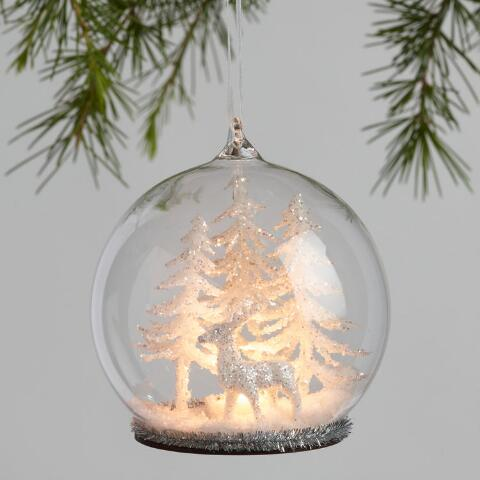 514b7d0e02e6ce Glass Cloche Light Up Winter Ornaments Set of 2 | World Market