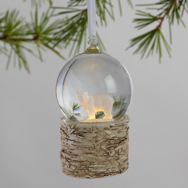 glass snow globe light up winter ornaments set of 3 world market