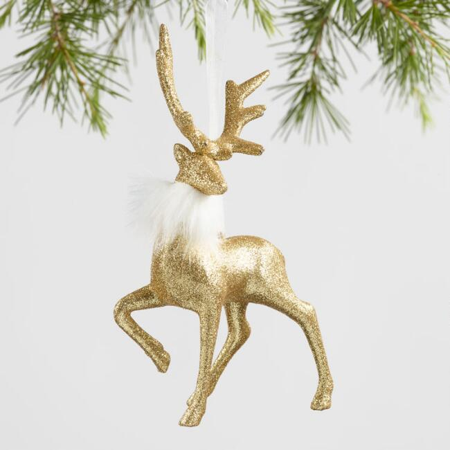 Glitter Deer with Fur Collar Ornaments Set of 2
