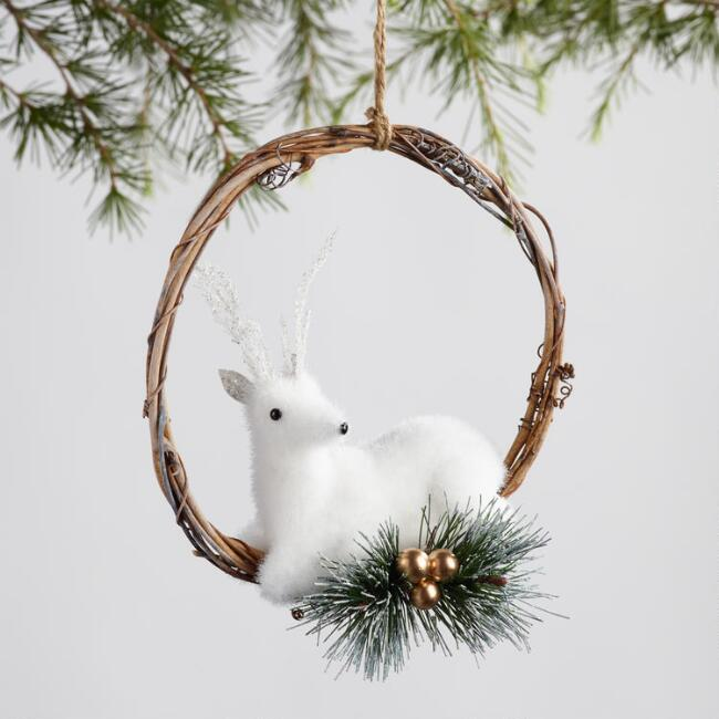 Twig Woodland Creature Wreath Ornaments Set of 2