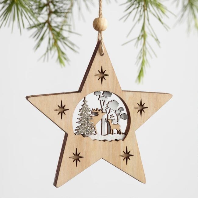 Wood Star with Deer Ornaments Set of 3