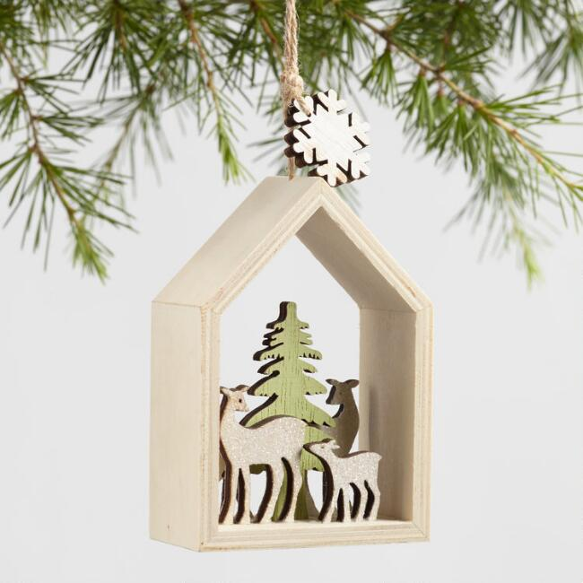 Wood Animal Scene Ornaments Set of 2