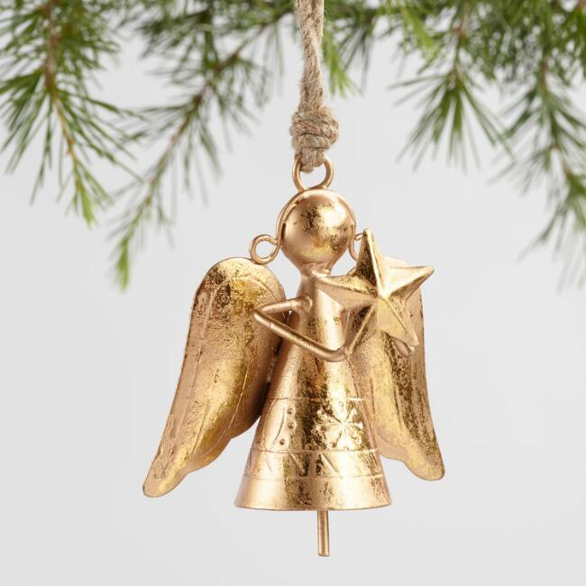 Metal Angel with Bell Ornaments Set of 2