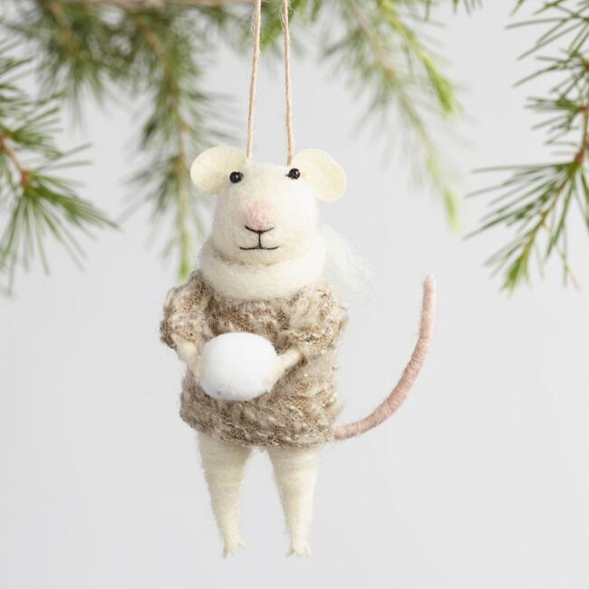 Felted Wool Mouse with Snowball Ornaments Set of 3