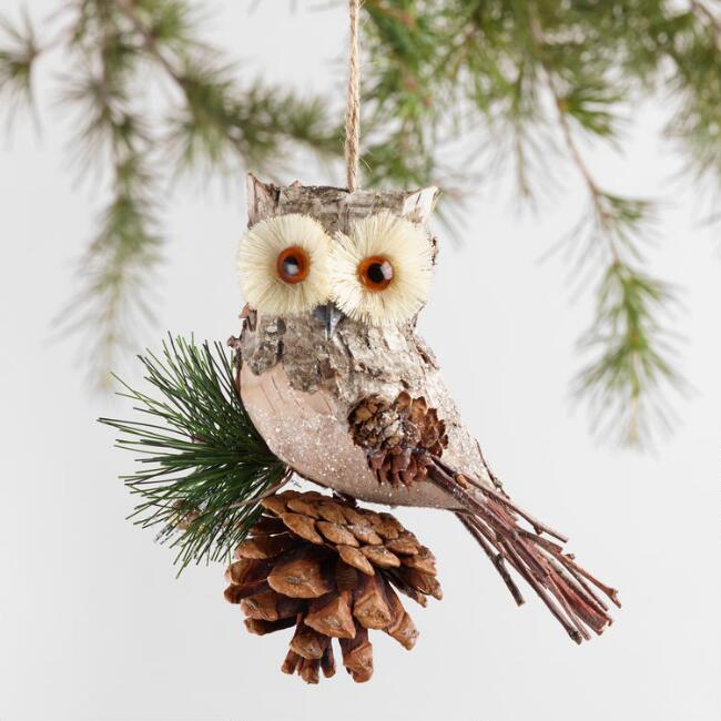 Natural Fiber Owl on Perch Ornaments Set of 2