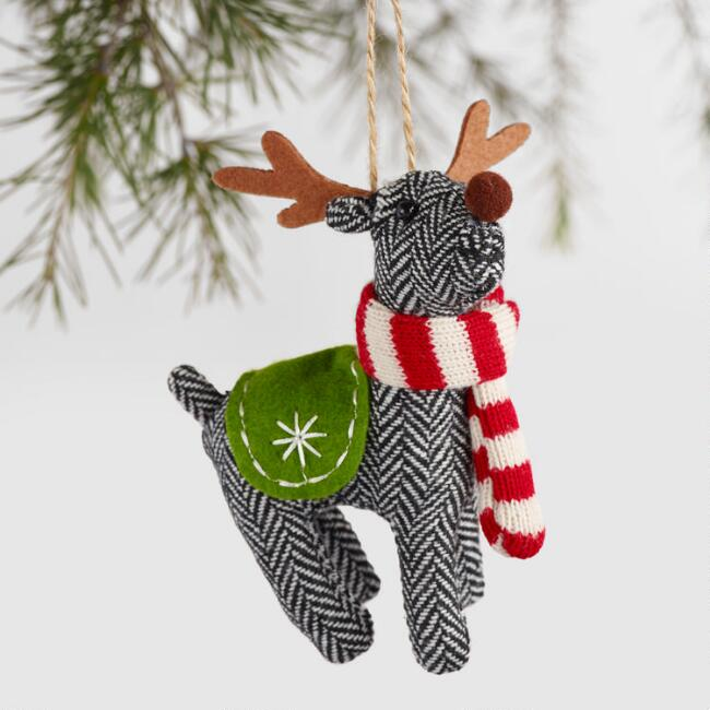 Fabric Deer with Scarf Ornaments, Set of 2