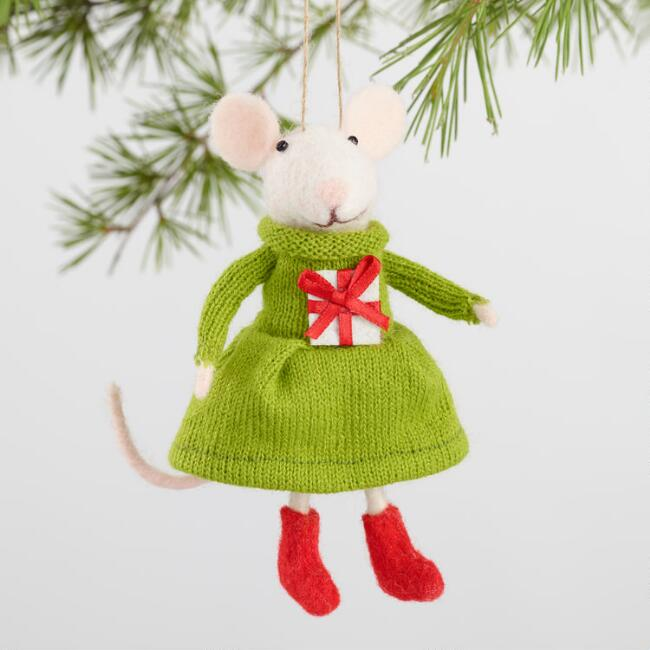 Felted Wool Mouse Family Ornaments Set of 4