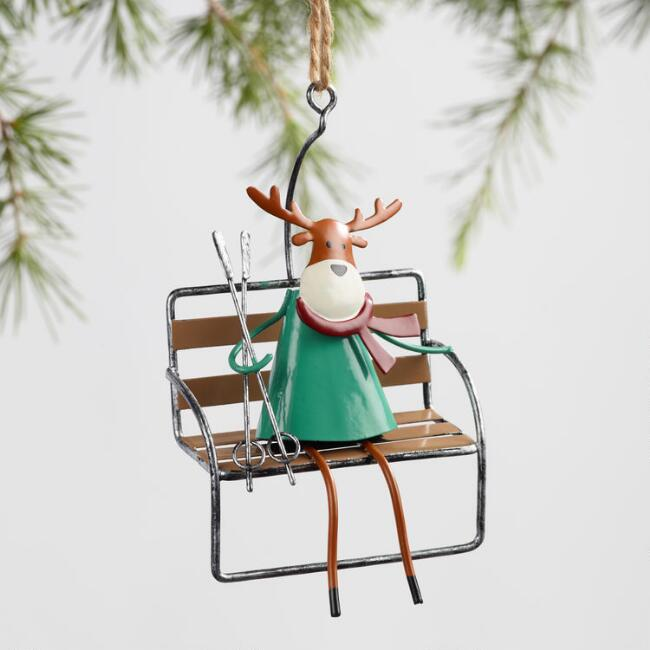 Metal Ski Lift Character Ornaments Set of 3