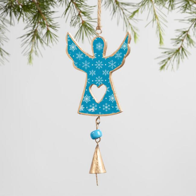 Wood Angel with Bell Ornaments Set of 3