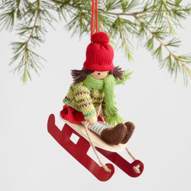 Fabric Winter Play Ornaments Set of 3
