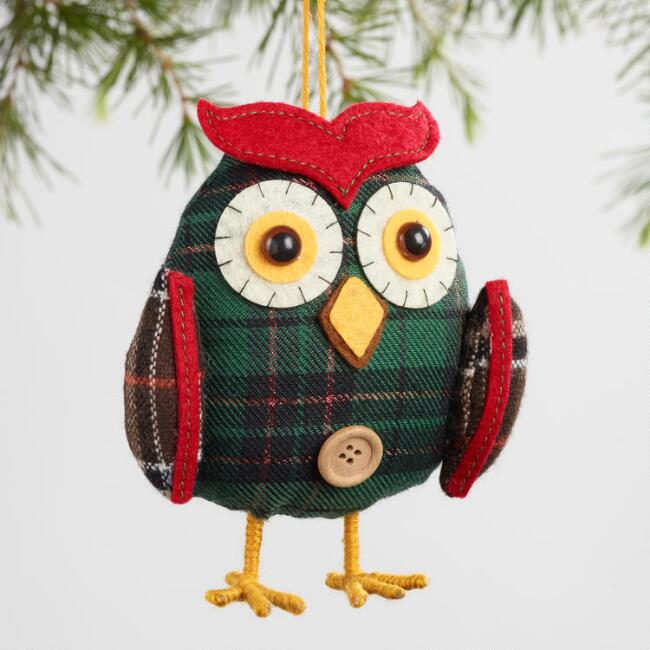 Plaid Fabric Owl Ornaments Set of 2