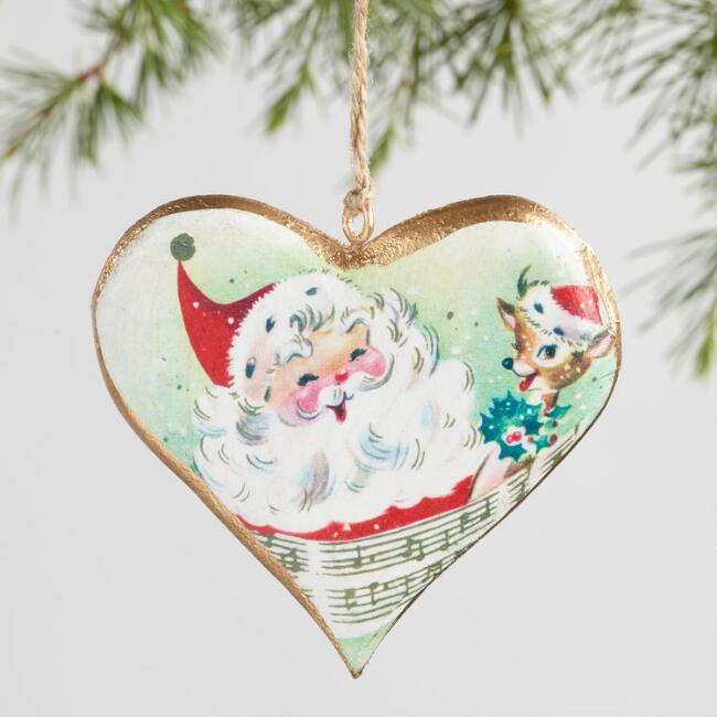 Metal Heart with Retro Santa Ornaments Set of 3
