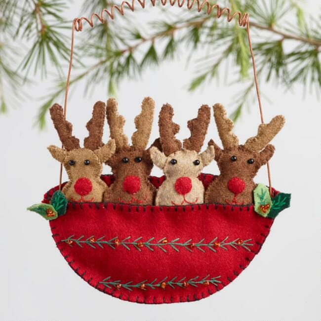Hand Stitched Felt Snowman and Reindeer Ornaments Set of 2