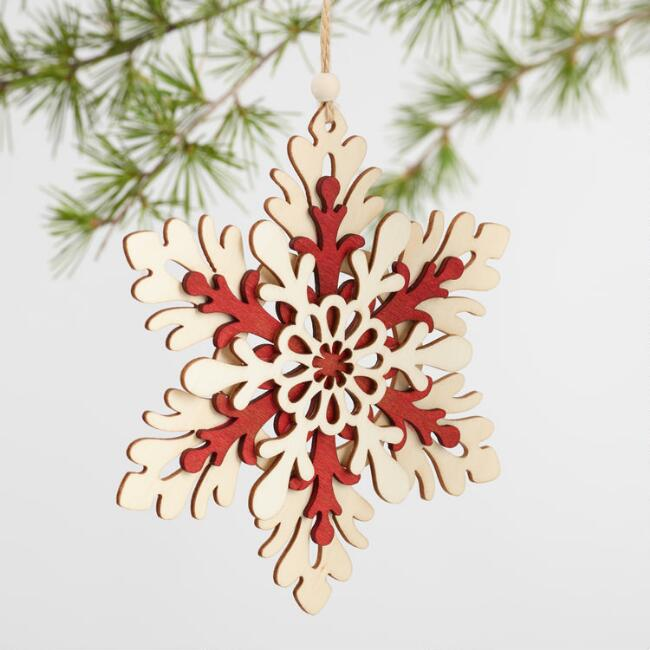 Natural and Red Wood Snowflake Ornaments Set of 3