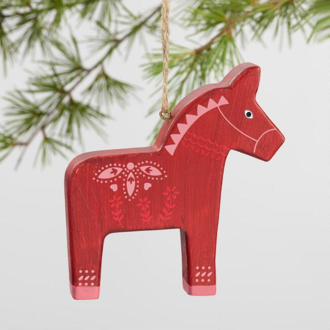 Wood Patterned Swedish Horse Ornaments Set of 3