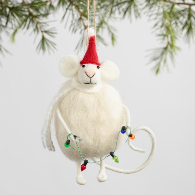 Felted Wool Santa Mouse Ornaments Set of 3