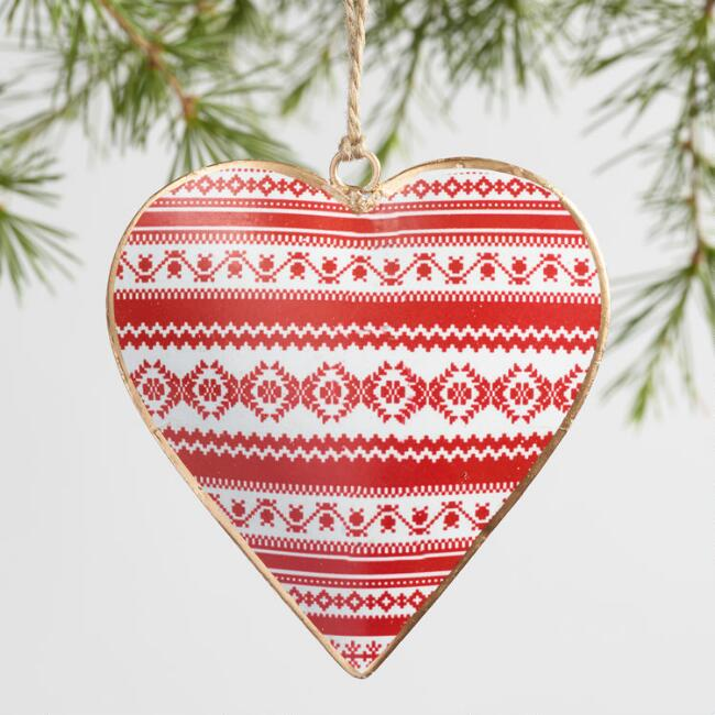 Metal Patterned Heart Ornaments Set of 4