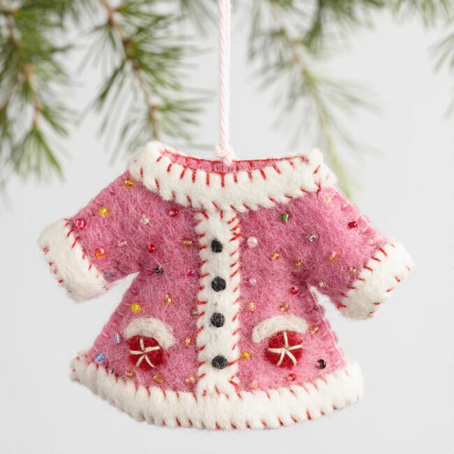 Felt Embellished Jacket Ornaments Set of 3