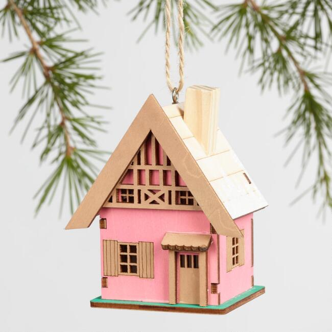 Laser Cut Wood House Ornaments Set of 3