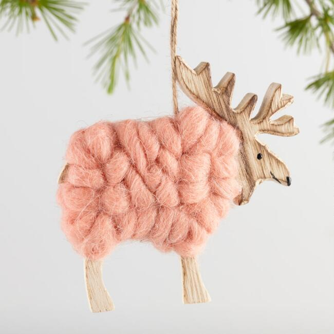 Wood and Wool Reindeer Ornaments Set of 3