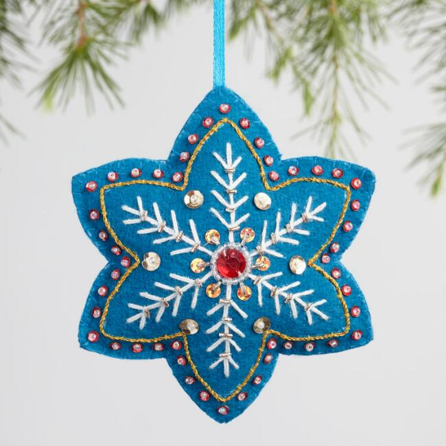 Felt Star Snowflake Ornaments Set of 3