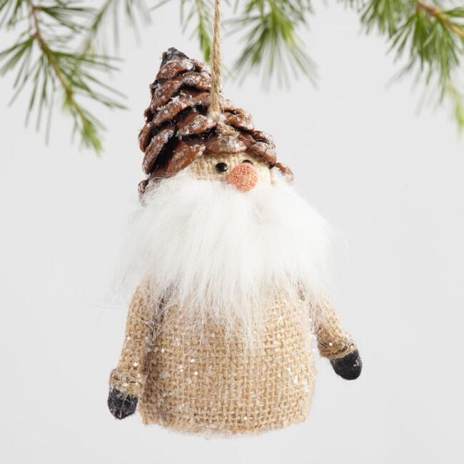 Burlap Gnome with Pinecone Hat Ornaments Set of 3