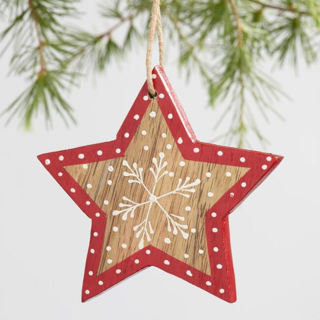 Wood Heart and Star with Snowflake Ornaments Set of 2