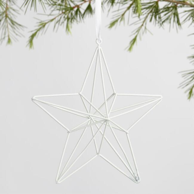 White Metal Star Geo Ornaments Set of 2