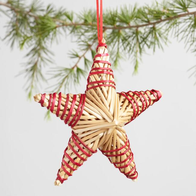 Straw Star Ornaments Set of 2