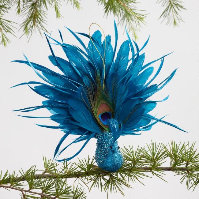 Feathered Peacock Ornaments Set Of 3
