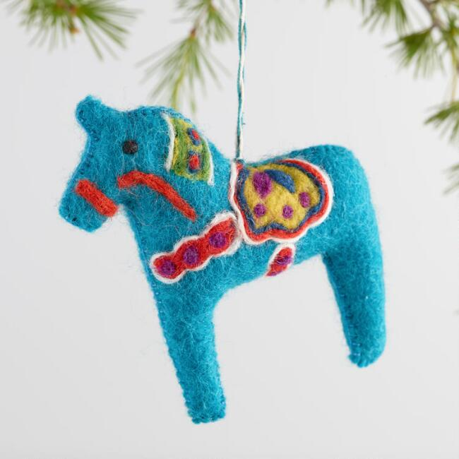 Felt Swedish Horse Ornaments Set of 3