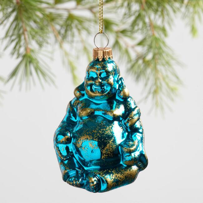 Glass Happy Buddha Ornaments Set of 3