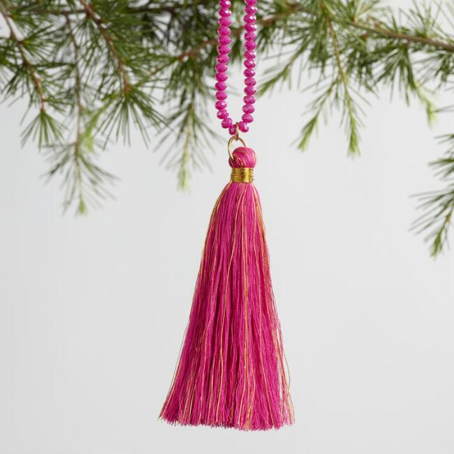 Beaded Tassel Ornaments Set of 4