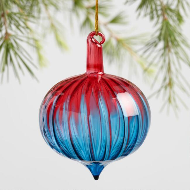 Glass Ombre Onion Ornaments Set of 3