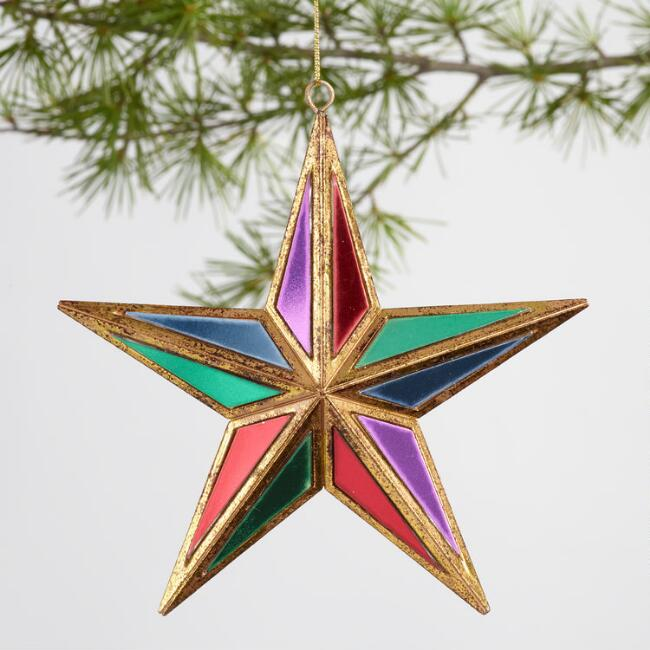 Multicolor Mirrored Star Ornament