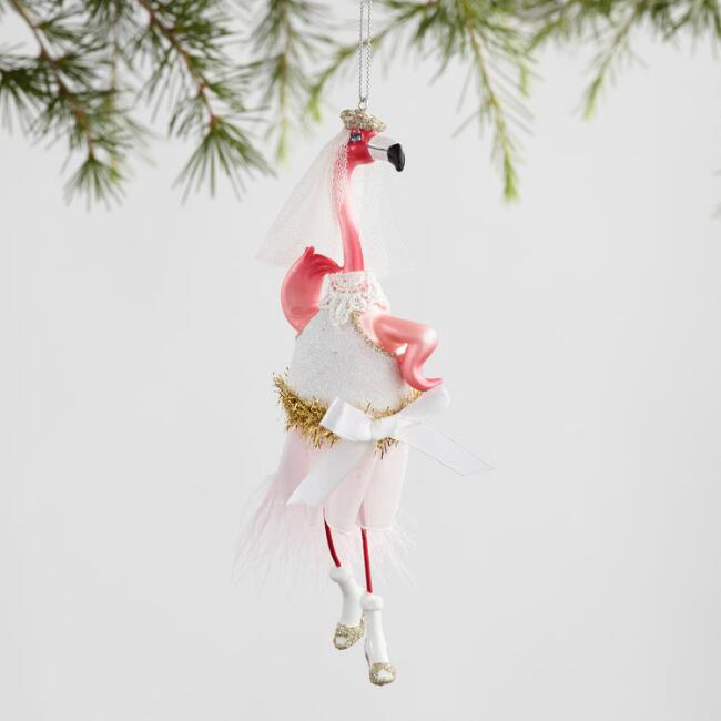 Glass Flamingo Bride and Groom Ornaments Set Of 2