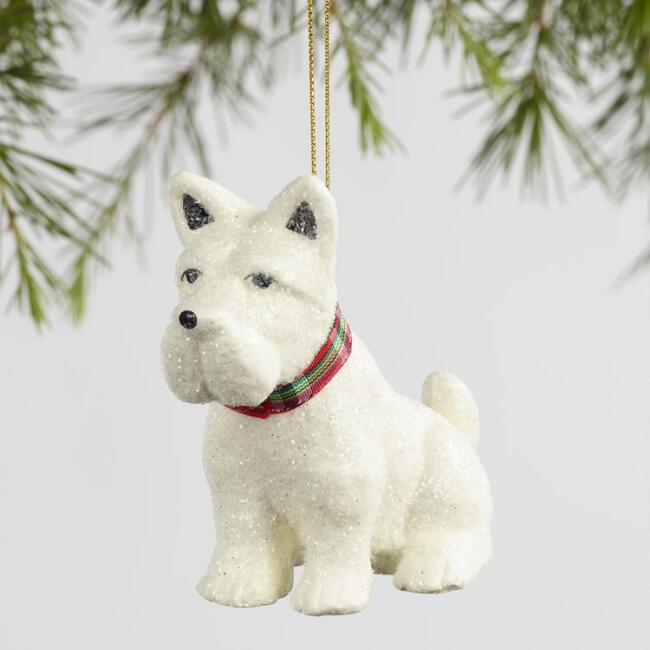 Paper Pulp Scottie and Westie Ornaments Set Of 2
