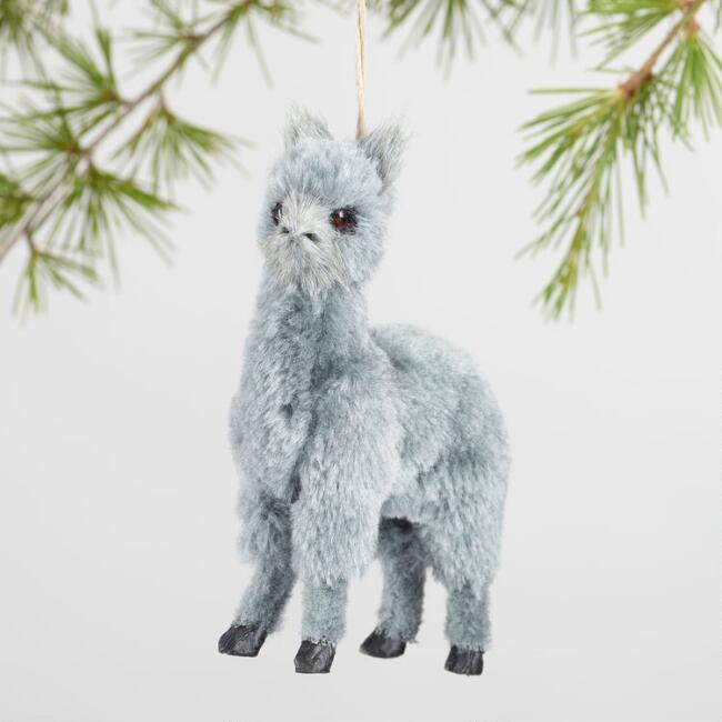 Faux Fur Alpaca Ornaments Set Of 3