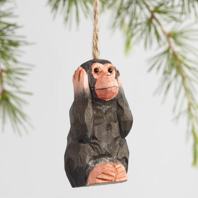 Wood Wise Monkey Ornaments Set Of 3