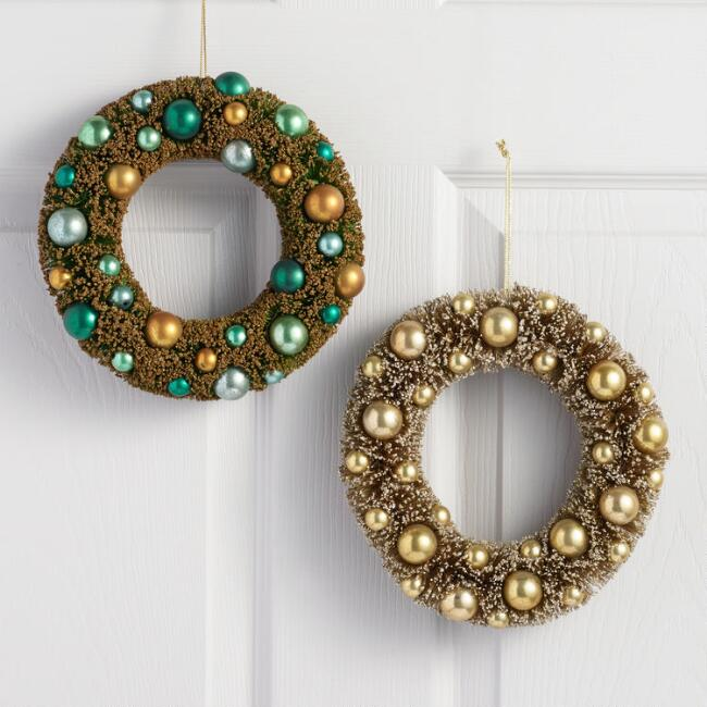Retro Bottlebrush Wreaths Set of 2