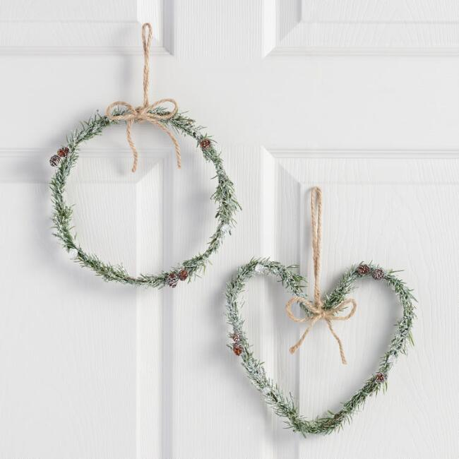 Icy Circle and Heart Wreaths Set of 2