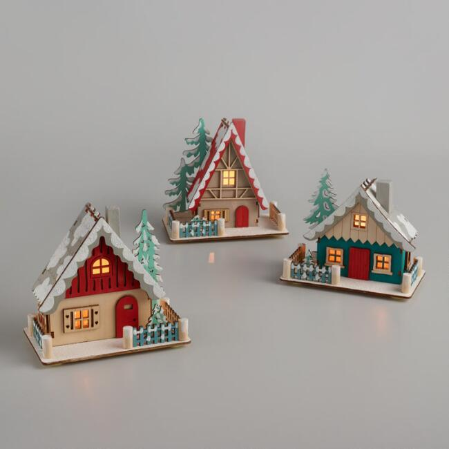 Wood and LED Light Up Nordic Houses Set of 3