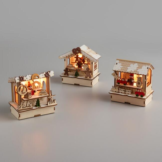 Wood and LED Light Up Market Stalls Set of 3