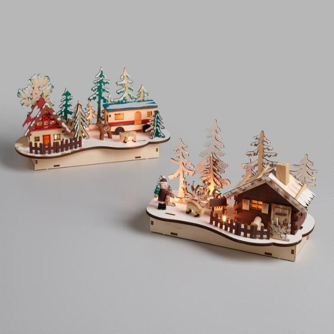 Wood and LED Light Up Winter Scenes Set of 2
