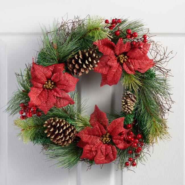 Burlap Poinsettia Wreath