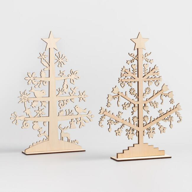 Laser Cut Wood Tabletop Trees Set of 2