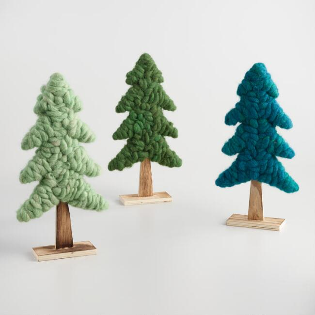 Wood and Wool Tabletop Trees Set of 3