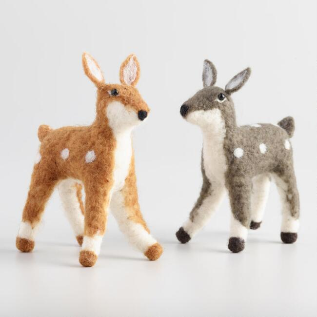 Felted Wool Deer Set of 2