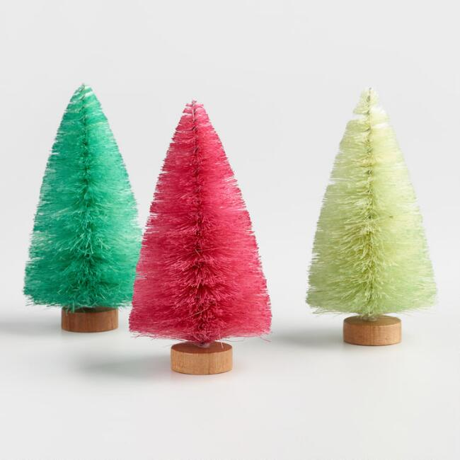 Bright Bottlebrush Tabletop Trees Set of 3